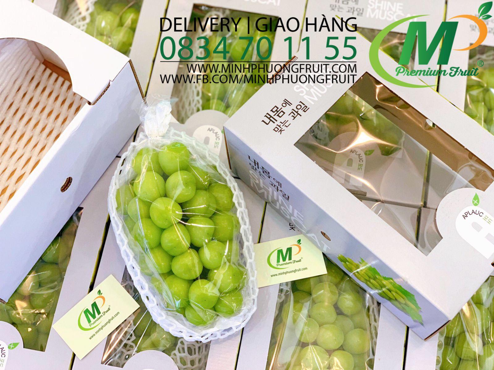 Nho Mẫu Đơn Shine Muscat Hàn Quốc - Hàng Premium 1 Hộp 1 chùm 1,2kg - MP Fruit