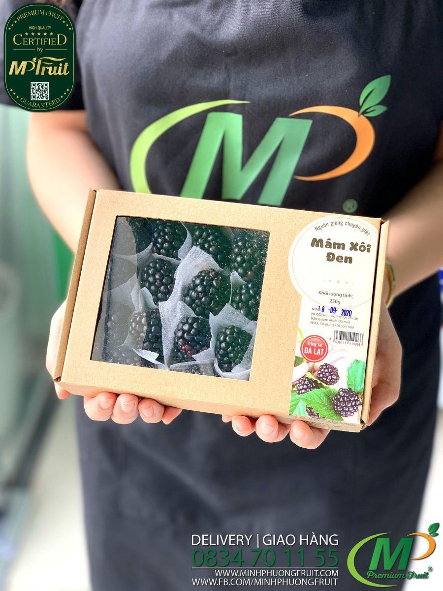 Mâm Xôi Đen Giống Pháp Hộp 250g Green Food Dalat tại MP Fruit